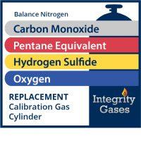 Calibration Gas Carbon Monoxide,Pentane Equiv.,Hydrogen Sulfide, Oxygen