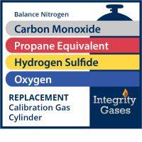 Calibration Gas Carbon Monoxide, Hydrogen Sulfide, Propane Equivalent, Oxygen IG-PN-1894